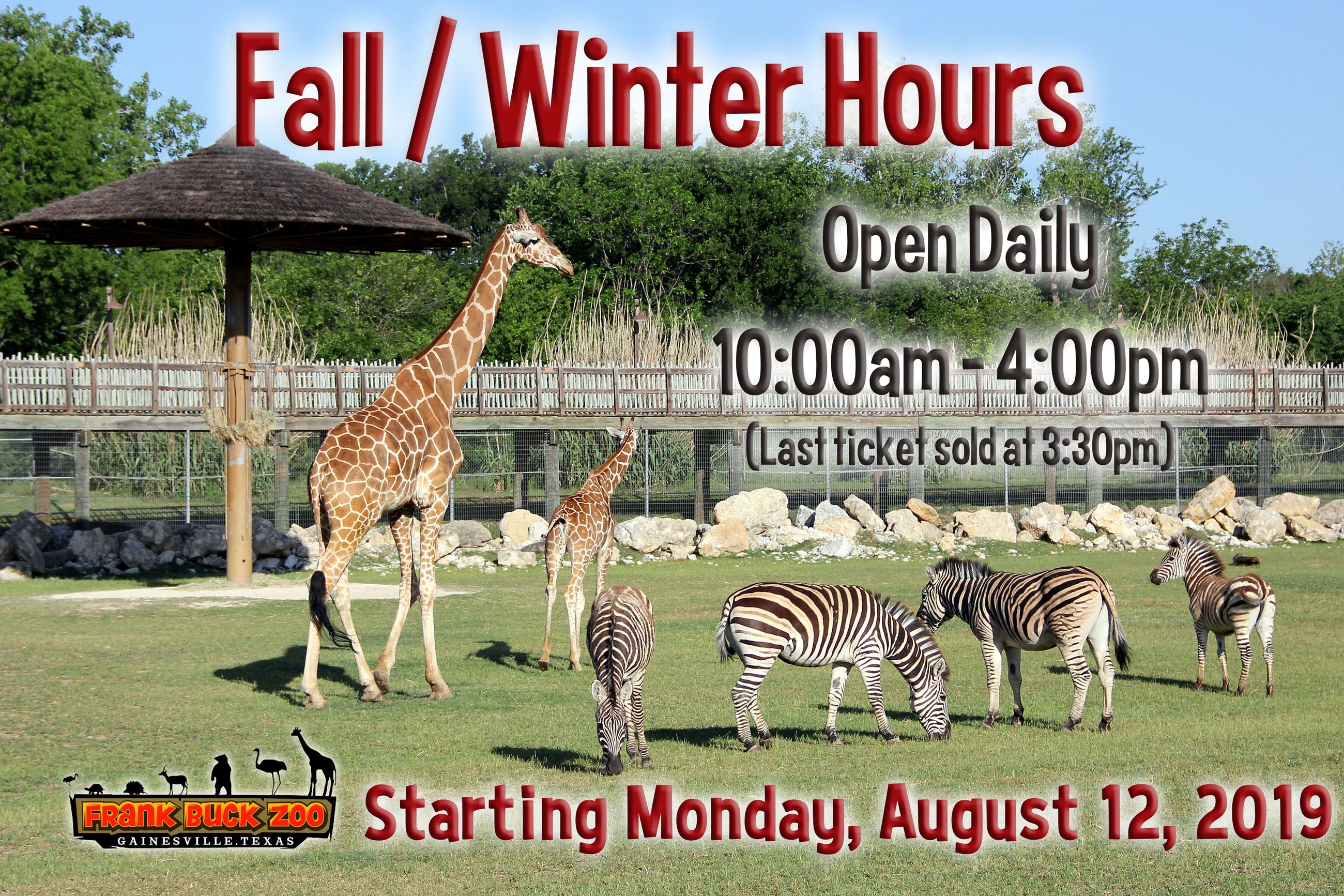 Zoo Hours & Admission | Gainesville, TX - Official Website