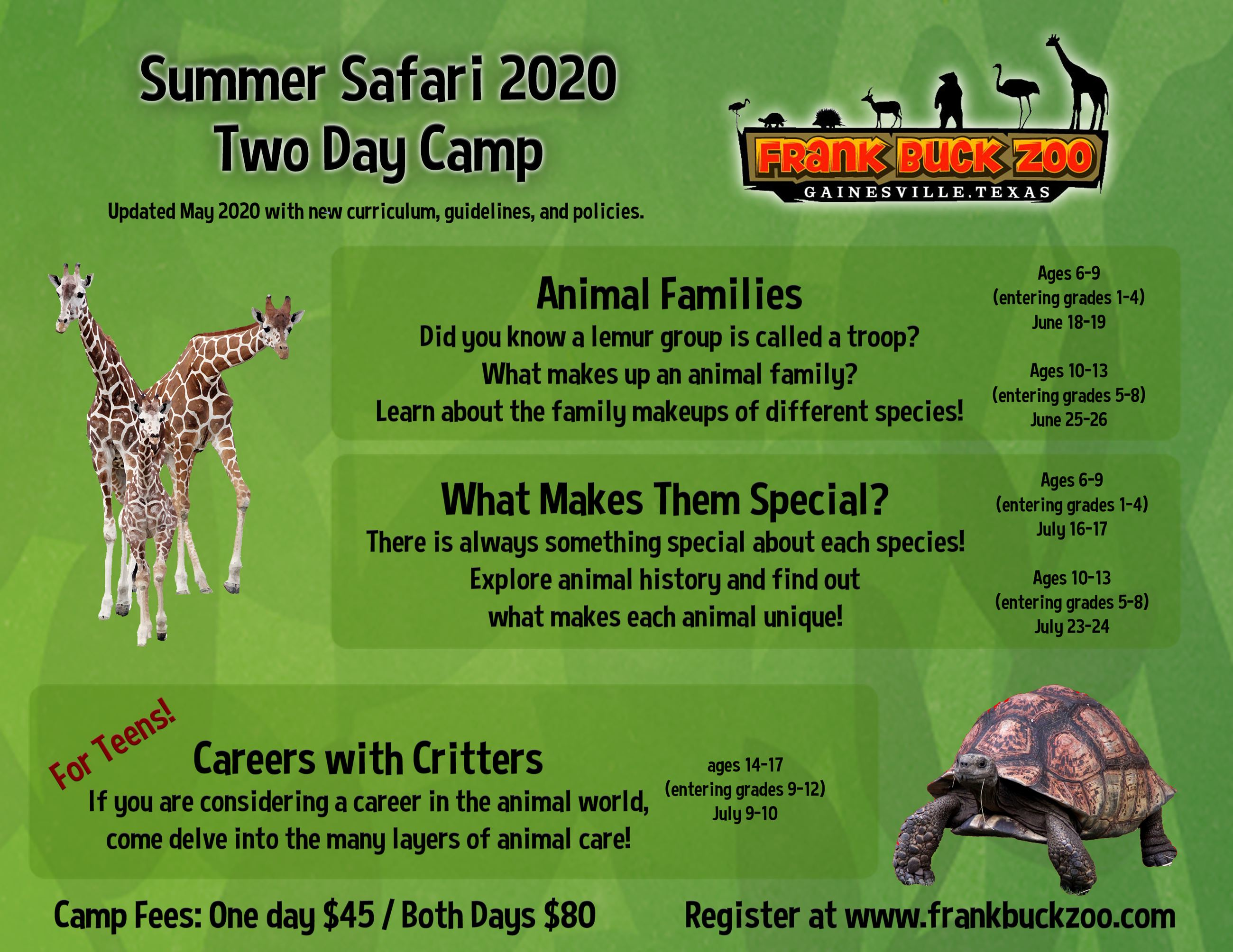 Informational Flyer for Frank Buck Zoo Summer Camp 2020